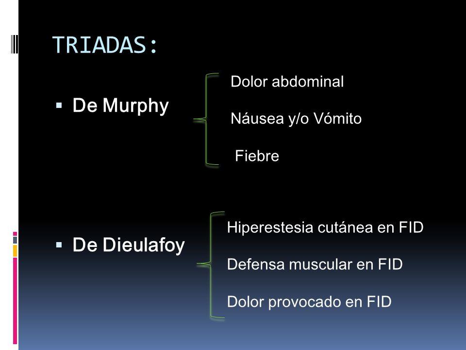 TRIADAS: De Murphy De Dieulafoy Dolor abdominal Náusea y/o Vómito