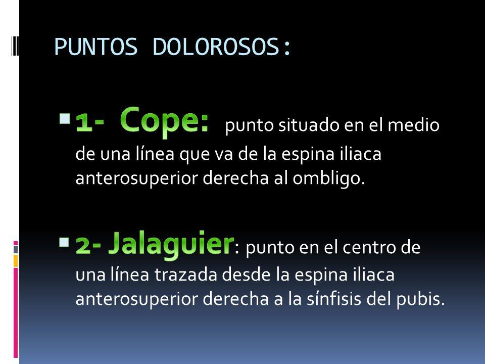PUNTOS DOLOROSOS: 1- Cope: punto situado en el medio de una línea que va de la espina iliaca anterosuperior derecha al ombligo.