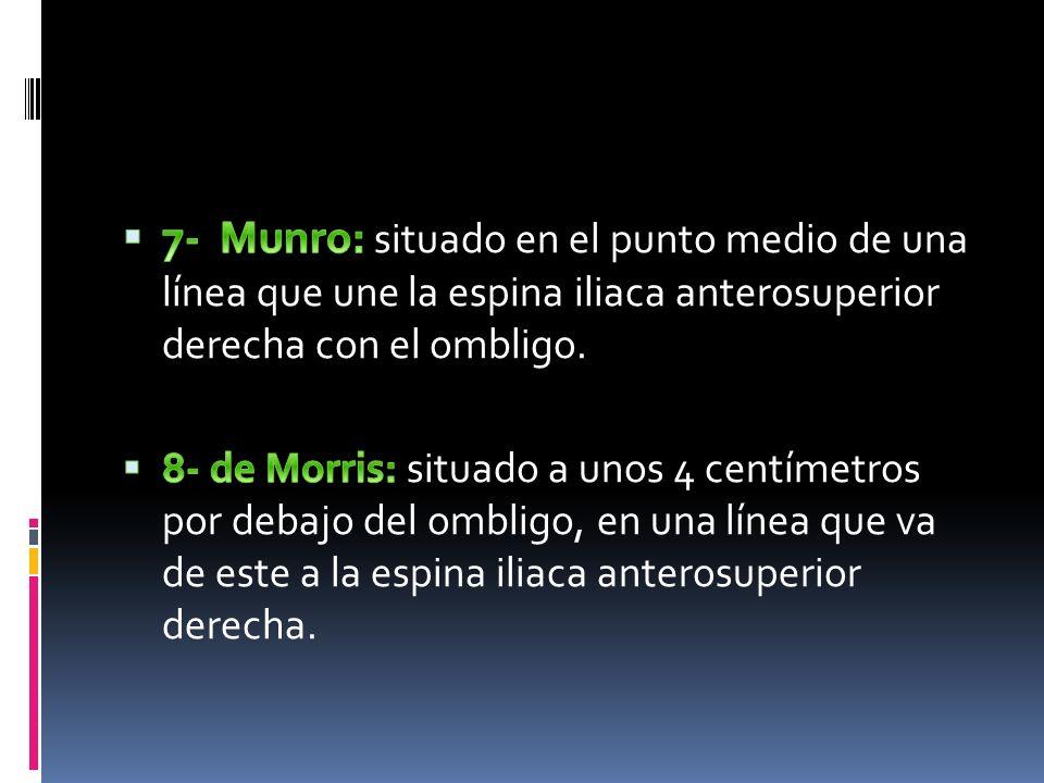 7- Munro: situado en el punto medio de una línea que une la espina iliaca anterosuperior derecha con el ombligo.