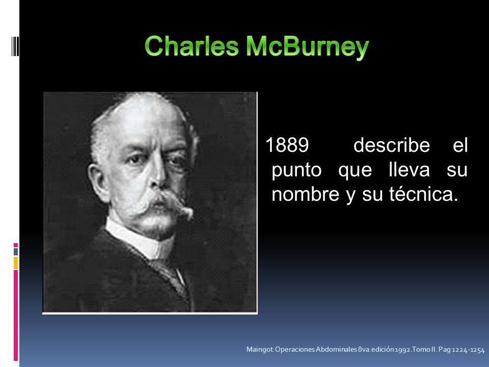Charles McBurney 1889 describe el punto que lleva su nombre y su técnica.