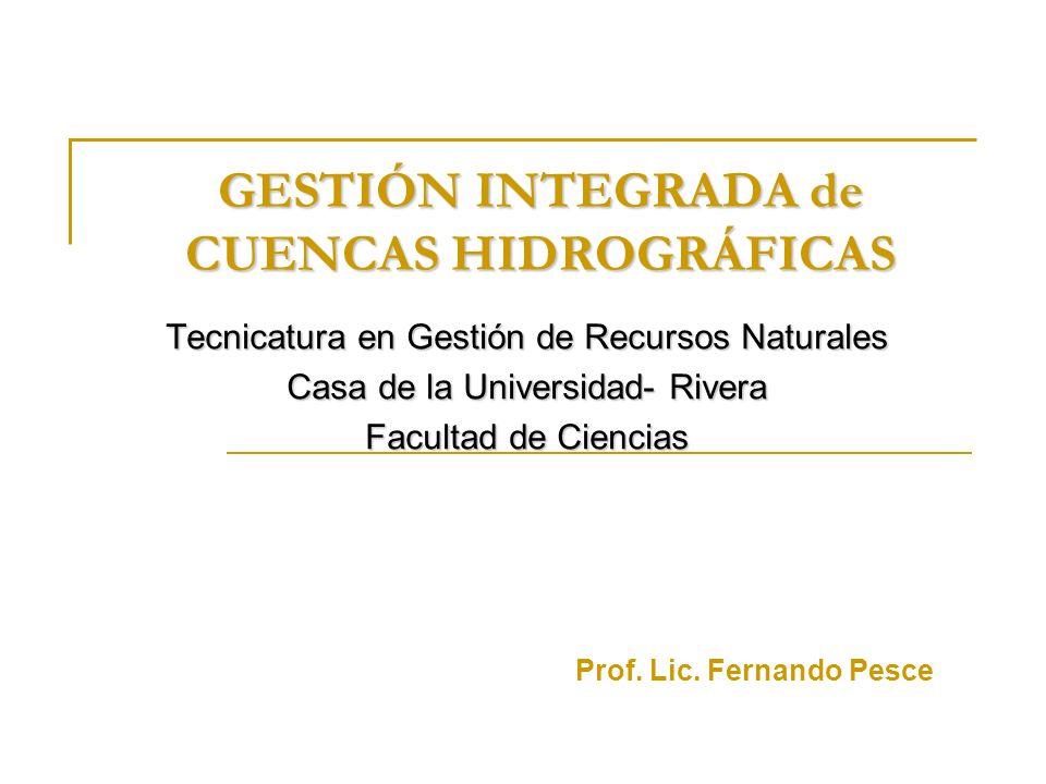 GESTIÓN INTEGRADA de CUENCAS HIDROGRÁFICAS