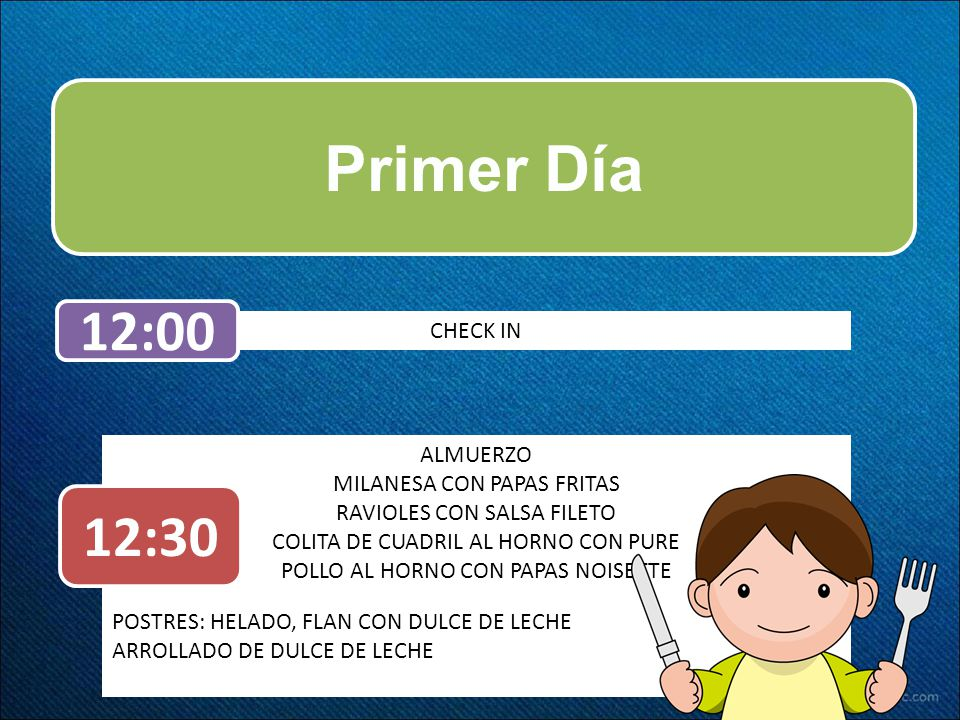 Primer Día 12:00 12:30 CHECK IN ALMUERZO MILANESA CON PAPAS FRITAS