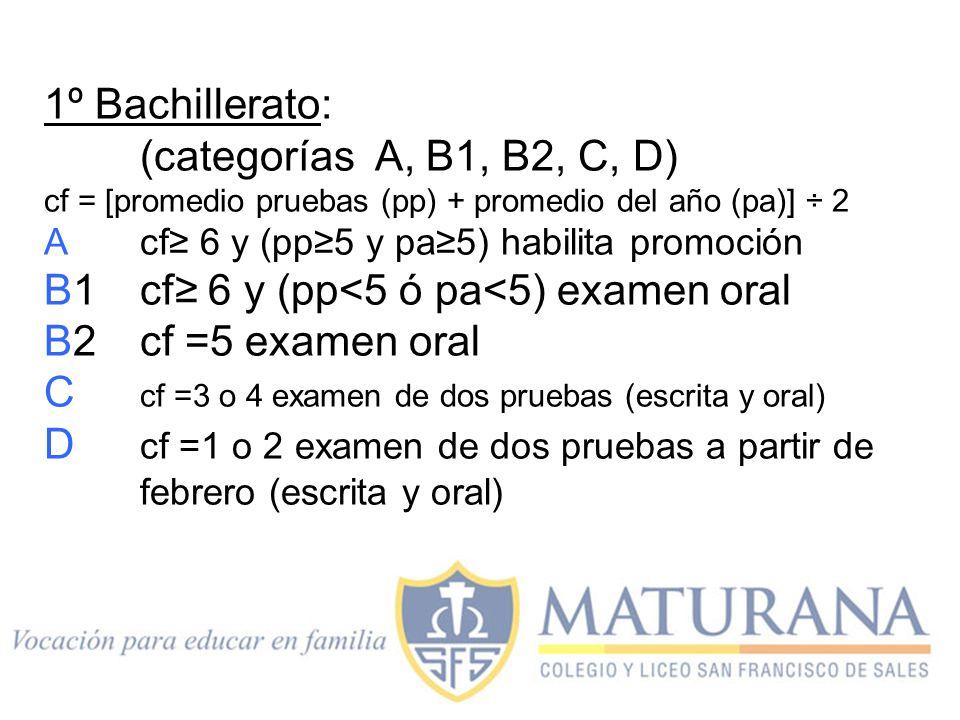 B1 cf≥ 6 y (pp<5 ó pa<5) examen oral B2 cf =5 examen oral
