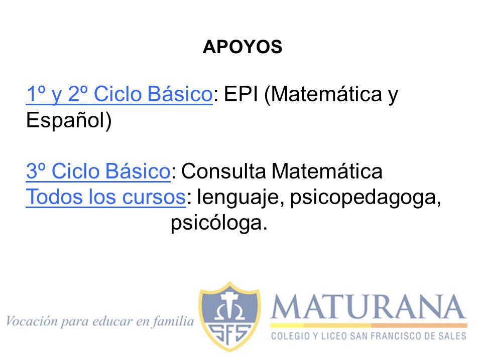 1º y 2º Ciclo Básico: EPI (Matemática y Español)