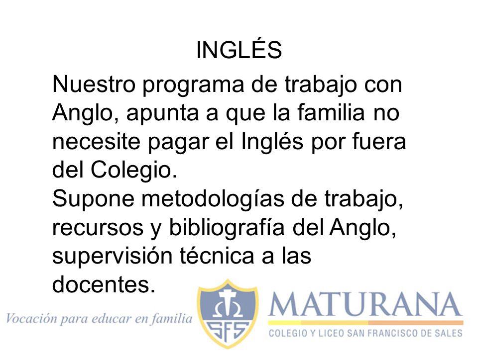 INGLÉS Nuestro programa de trabajo con Anglo, apunta a que la familia no necesite pagar el Inglés por fuera del Colegio.