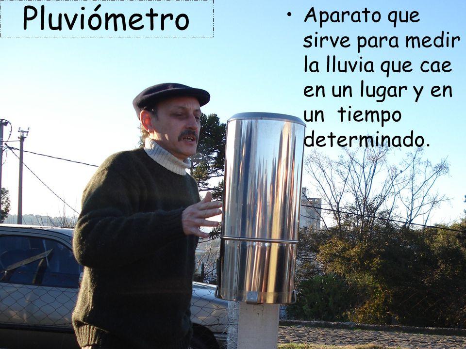 Pluviómetro Aparato que sirve para medir la lluvia que cae en un lugar y en un tiempo determinado.