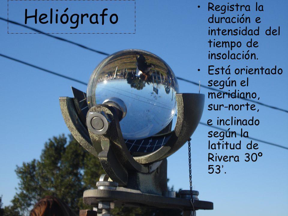 Heliógrafo Registra la duración e intensidad del tiempo de insolación.