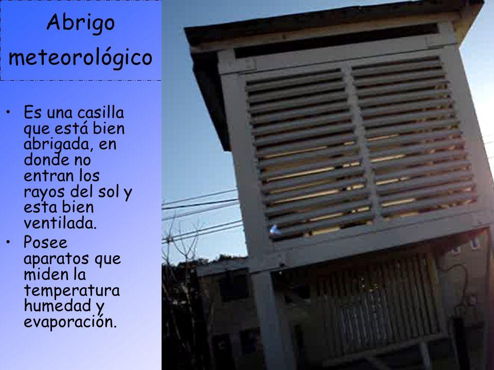 Abrigo meteorológico Es una casilla que está bien abrigada, en donde no entran los rayos del sol y esta bien ventilada.
