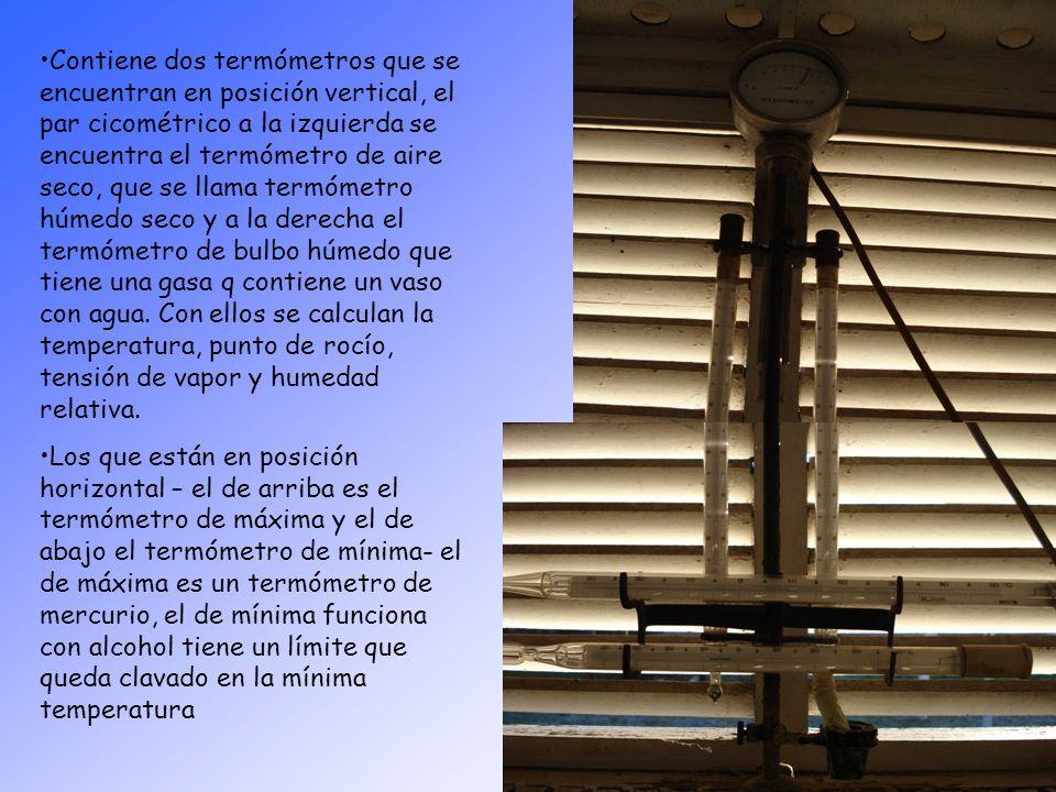 Contiene dos termómetros que se encuentran en posición vertical, el par cicométrico a la izquierda se encuentra el termómetro de aire seco, que se llama termómetro húmedo seco y a la derecha el termómetro de bulbo húmedo que tiene una gasa q contiene un vaso con agua. Con ellos se calculan la temperatura, punto de rocío, tensión de vapor y humedad relativa.