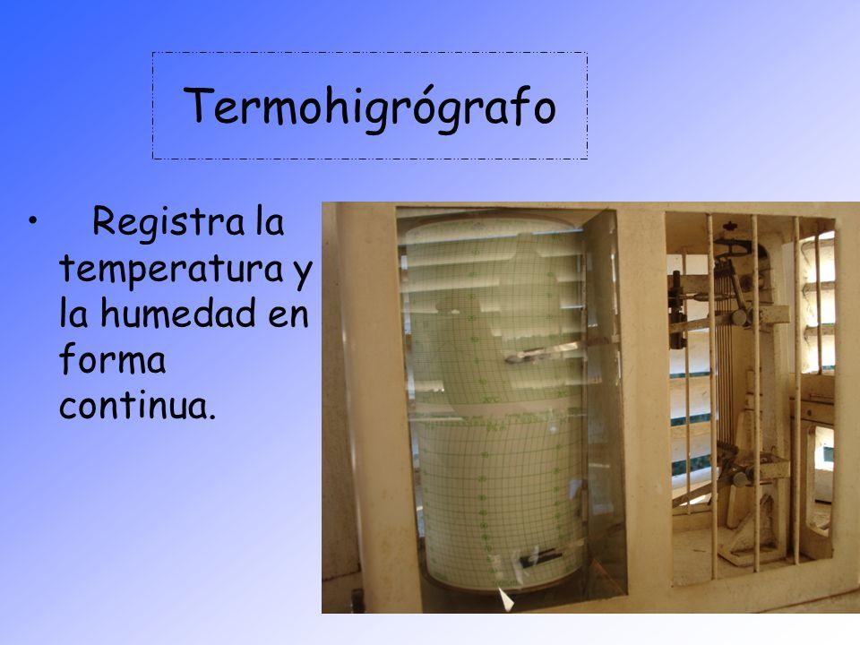 Termohigrógrafo Registra la temperatura y la humedad en forma continua.