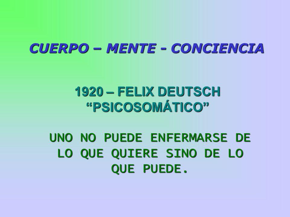 CUERPO – MENTE - CONCIENCIA 1920 – FELIX DEUTSCH PSICOSOMÁTICO