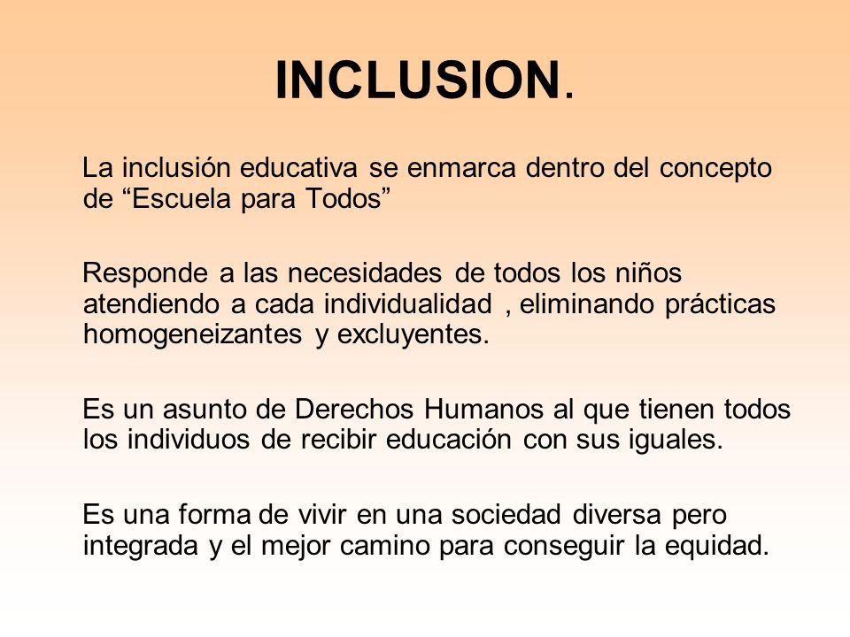 INCLUSION. La inclusión educativa se enmarca dentro del concepto de Escuela para Todos