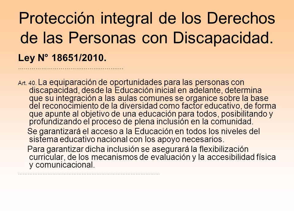 Protección integral de los Derechos de las Personas con Discapacidad.