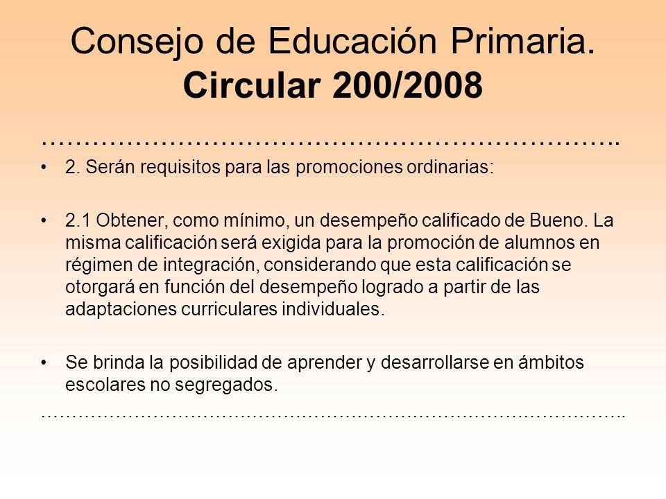 Consejo de Educación Primaria. Circular 200/2008