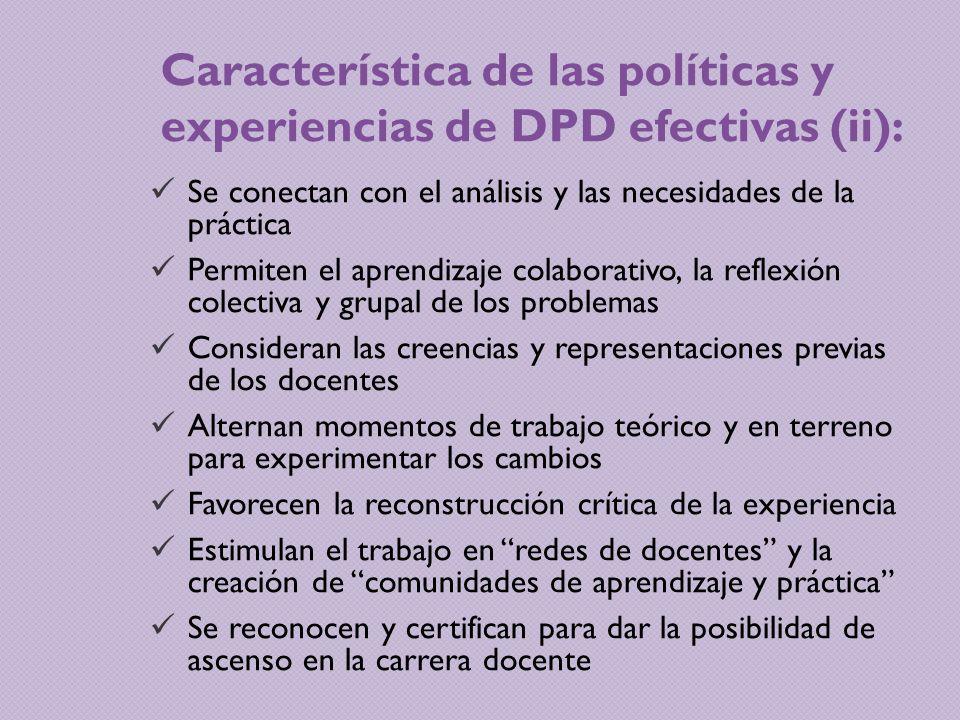 Característica de las políticas y experiencias de DPD efectivas (ii):