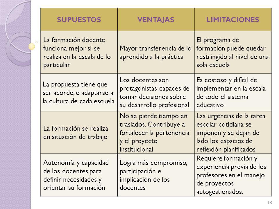 SUPUESTOS VENTAJAS. LIMITACIONES. La formación docente funciona mejor si se realiza en la escala de lo particular.