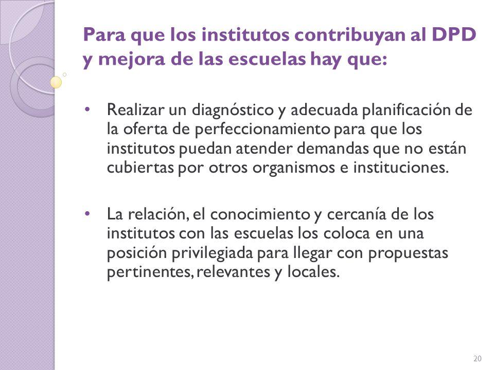 Para que los institutos contribuyan al DPD y mejora de las escuelas hay que: