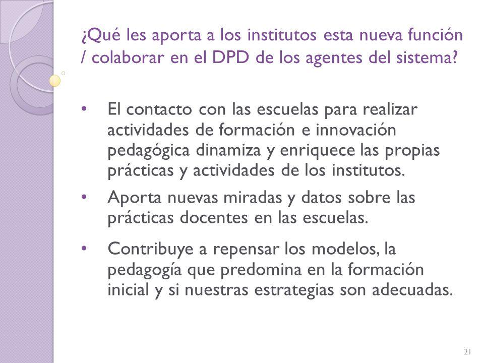 ¿Qué les aporta a los institutos esta nueva función / colaborar en el DPD de los agentes del sistema
