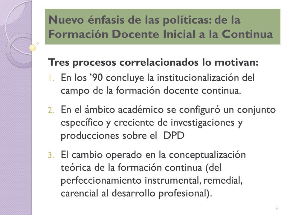 Nuevo énfasis de las políticas: de la Formación Docente Inicial a la Continua