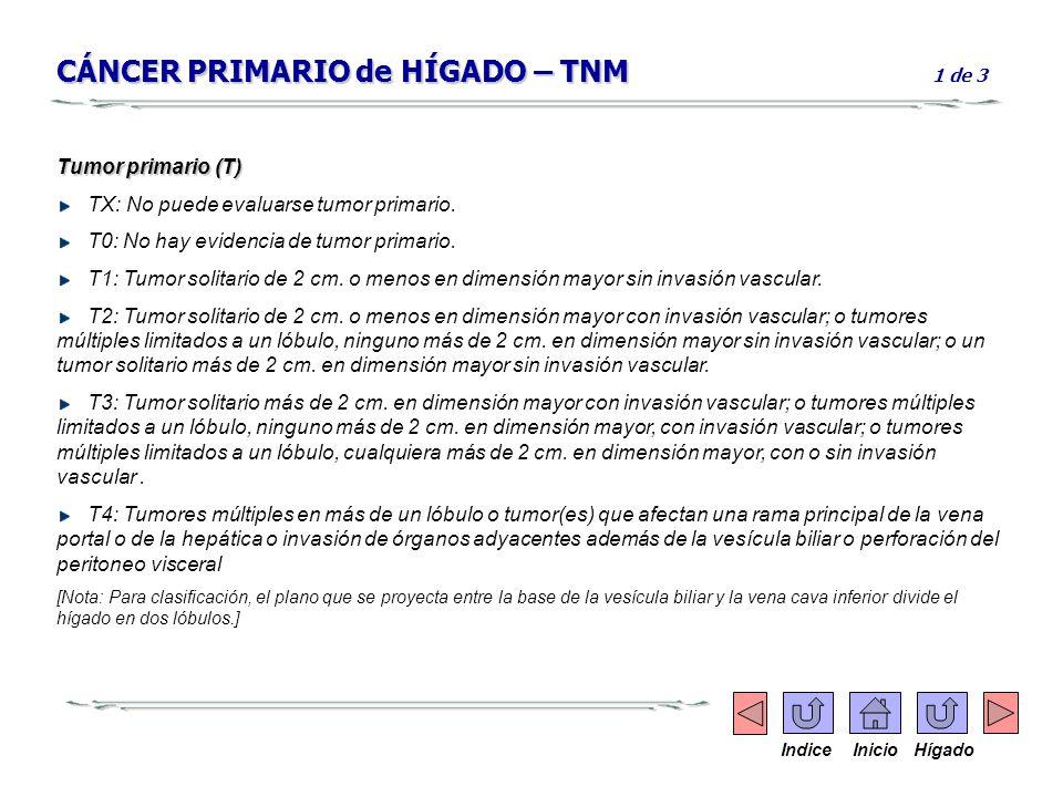CÁNCER PRIMARIO de HÍGADO – TNM 1 de 3