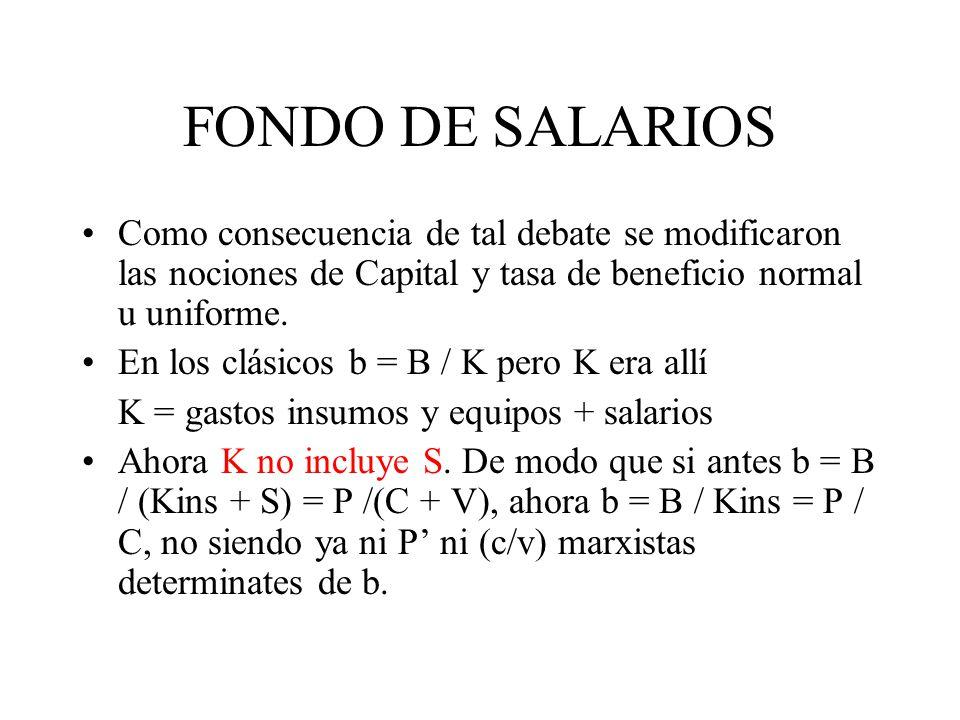 FONDO DE SALARIOS Como consecuencia de tal debate se modificaron las nociones de Capital y tasa de beneficio normal u uniforme.