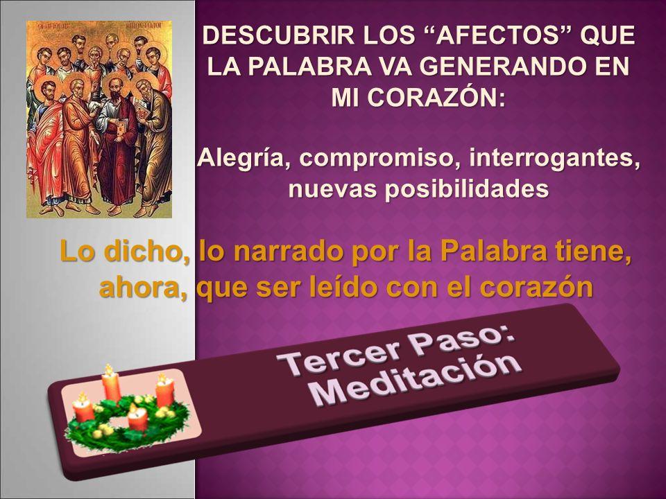 DESCUBRIR LOS AFECTOS QUE LA PALABRA VA GENERANDO EN MI CORAZÓN: