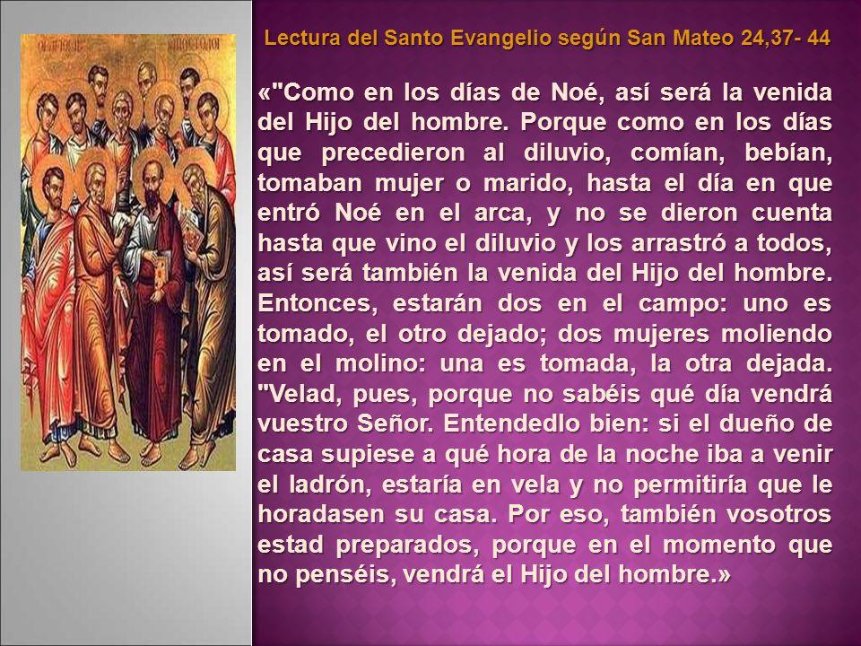 Lectura del Santo Evangelio según San Mateo 24,37- 44