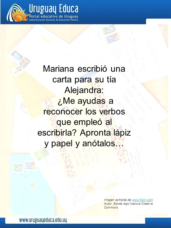 Mariana escribió una carta para su tía Alejandra: