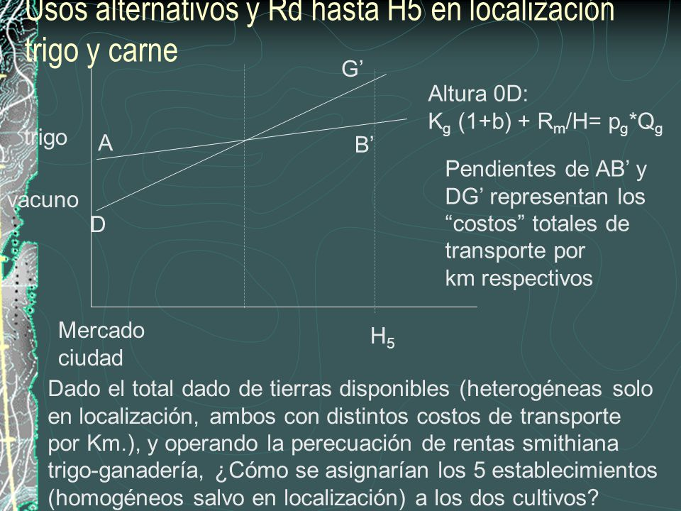 Usos alternativos y Rd hasta H5 en localización trigo y carne