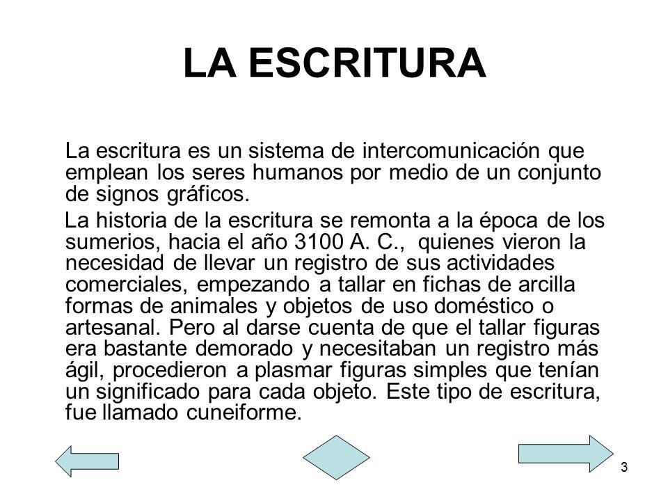 LA ESCRITURA La escritura es un sistema de intercomunicación que emplean los seres humanos por medio de un conjunto de signos gráficos.
