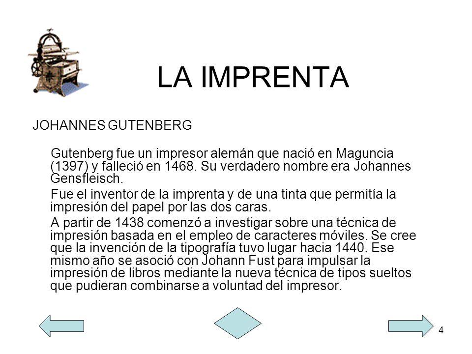 LA IMPRENTA JOHANNES GUTENBERG