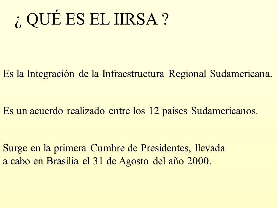 ¿ QUÉ ES EL IIRSA Es la Integración de la Infraestructura Regional Sudamericana. Es un acuerdo realizado entre los 12 países Sudamericanos.
