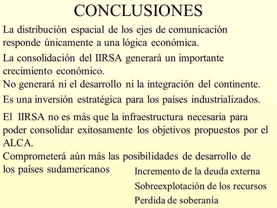 CONCLUSIONES La distribución espacial de los ejes de comunicación responde únicamente a una lógica económica.
