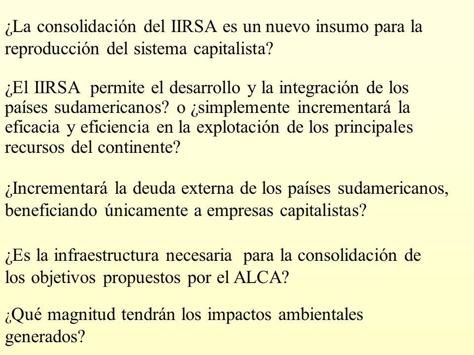 ¿La consolidación del IIRSA es un nuevo insumo para la reproducción del sistema capitalista