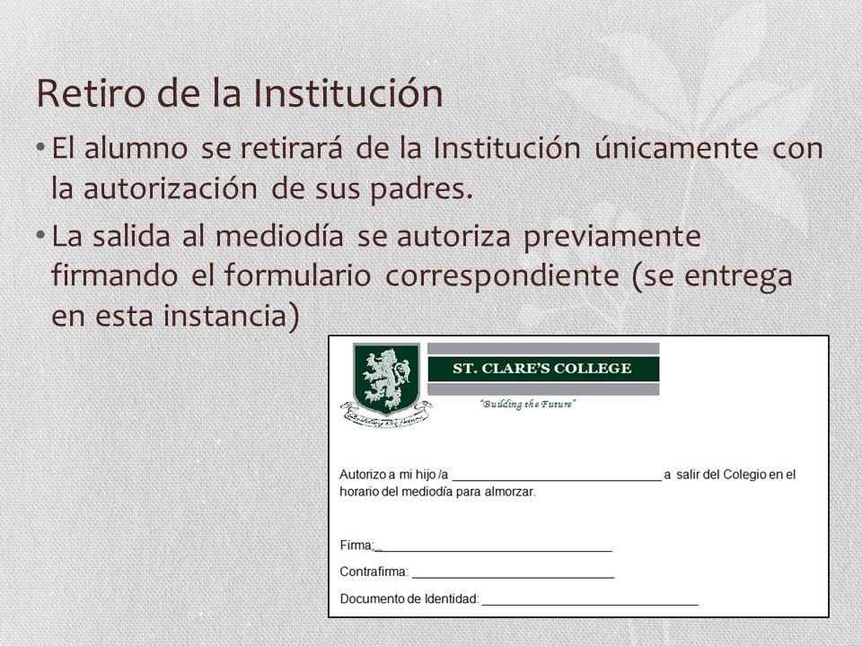 Retiro de la Institución