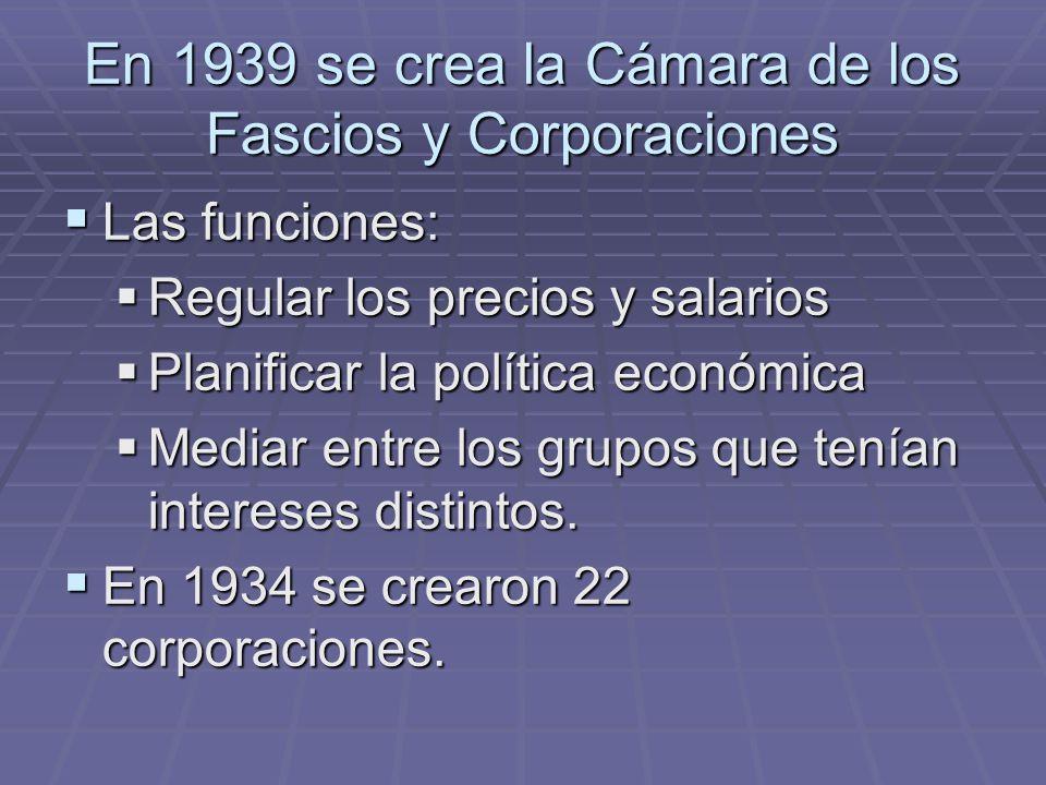 En 1939 se crea la Cámara de los Fascios y Corporaciones