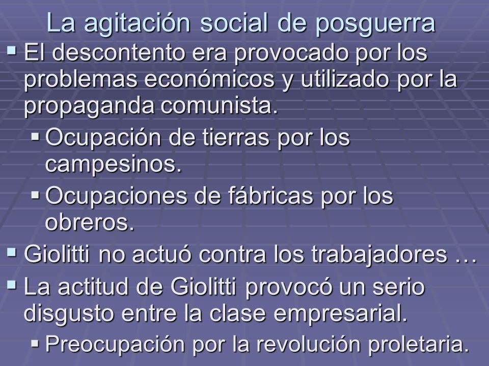 La agitación social de posguerra