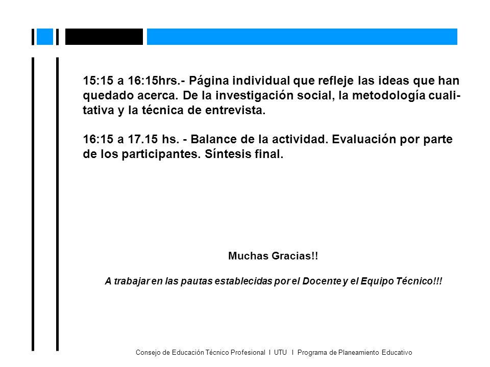 15:15 a 16:15hrs.- Página individual que refleje las ideas que han quedado acerca. De la investigación social, la metodología cuali-tativa y la técnica de entrevista.