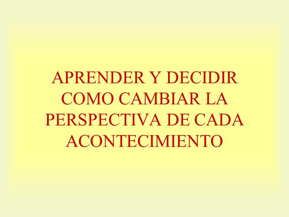 APRENDER Y DECIDIR COMO CAMBIAR LA PERSPECTIVA DE CADA ACONTECIMIENTO