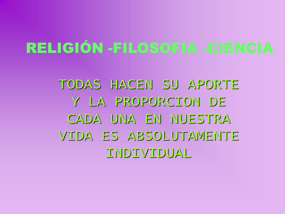 RELIGIÓN -FILOSOFIA -CIENCIA