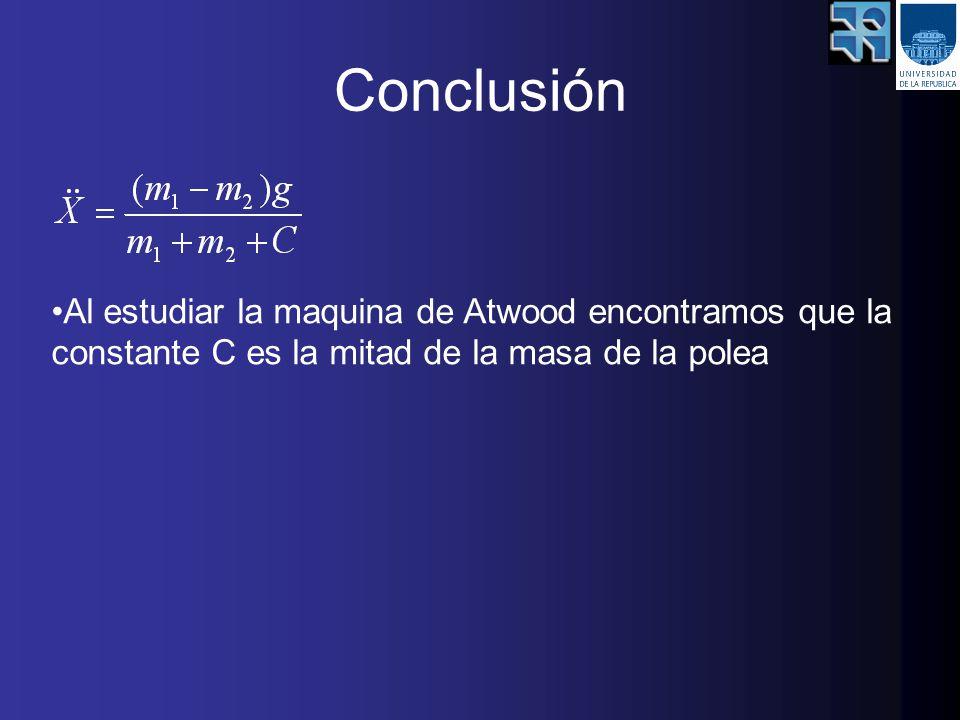 Conclusión Al estudiar la maquina de Atwood encontramos que la constante C es la mitad de la masa de la polea.
