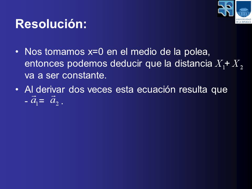 Resolución: Nos tomamos x=0 en el medio de la polea, entonces podemos deducir que la distancia + va a ser constante.