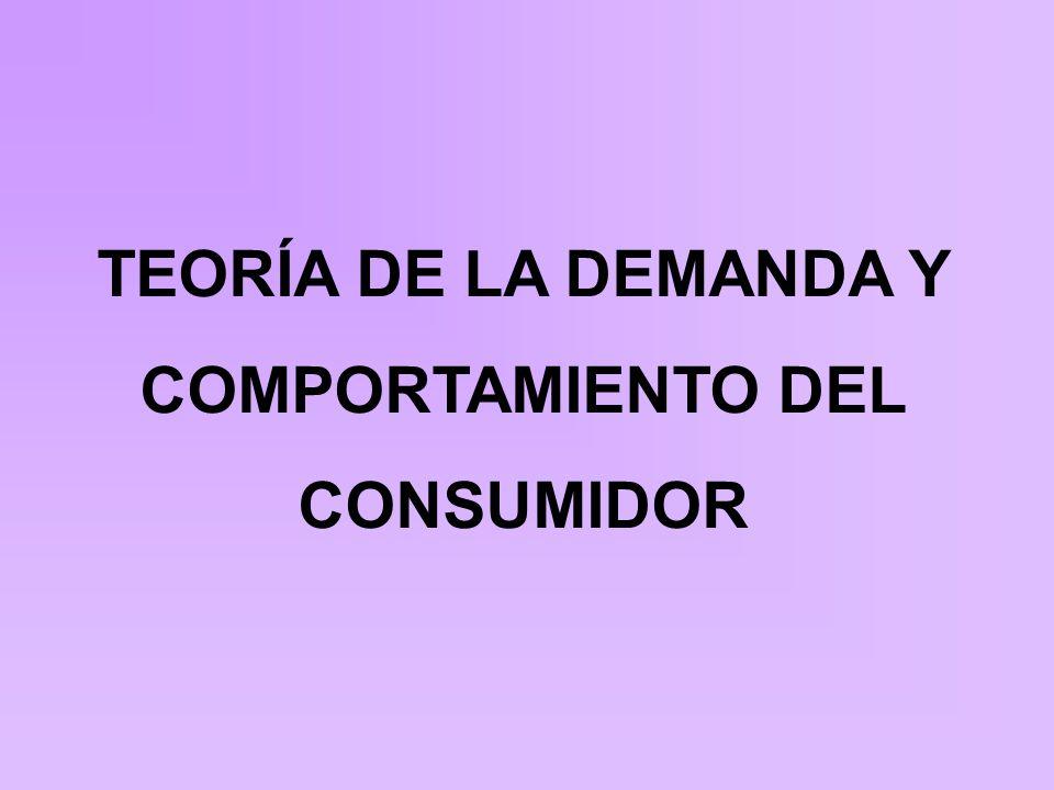 TEORÍA DE LA DEMANDA Y COMPORTAMIENTO DEL CONSUMIDOR