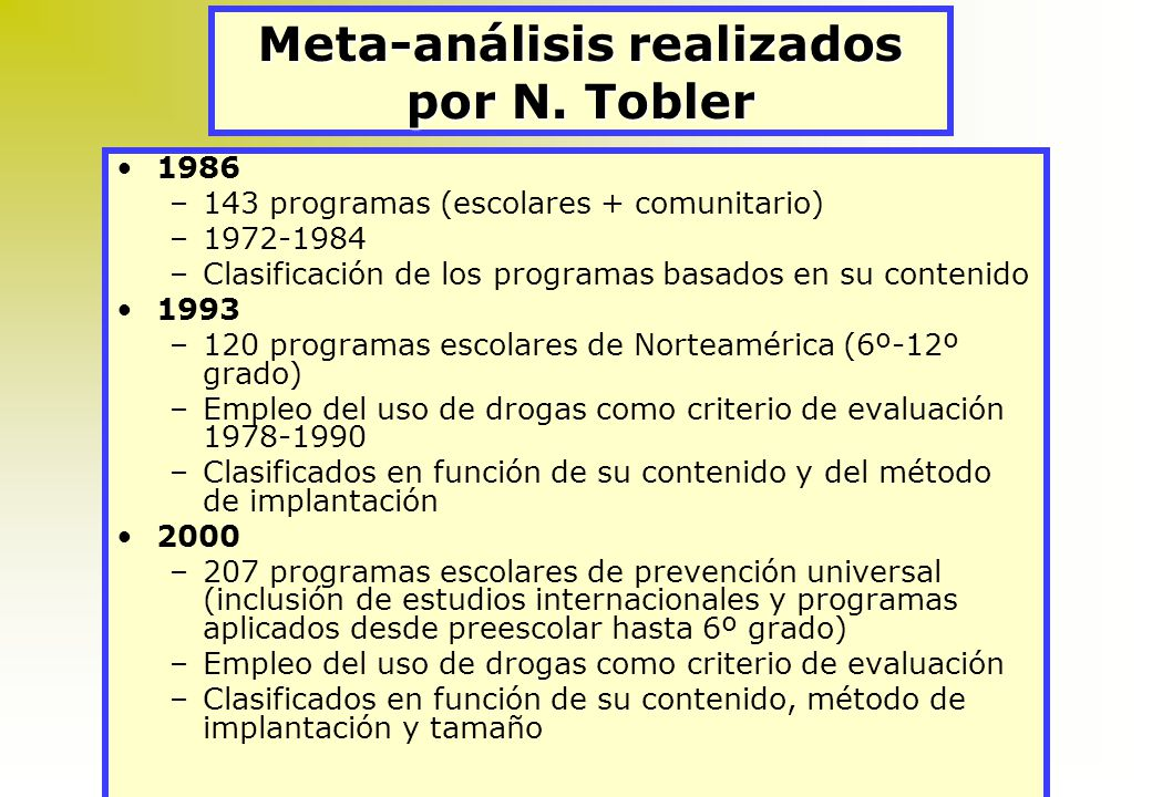 Meta-análisis realizados por N. Tobler