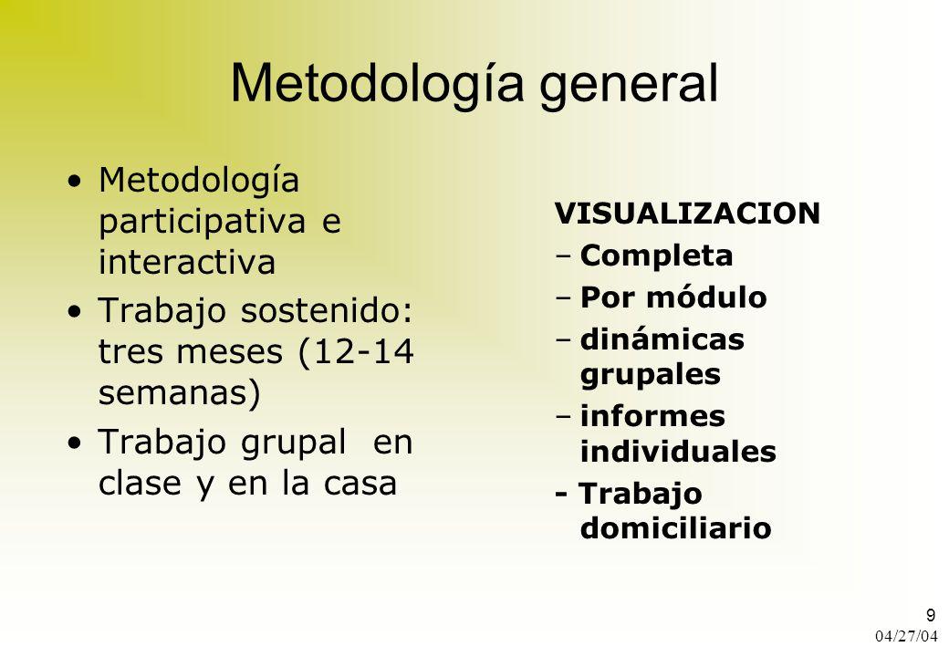 Metodología general Metodología participativa e interactiva