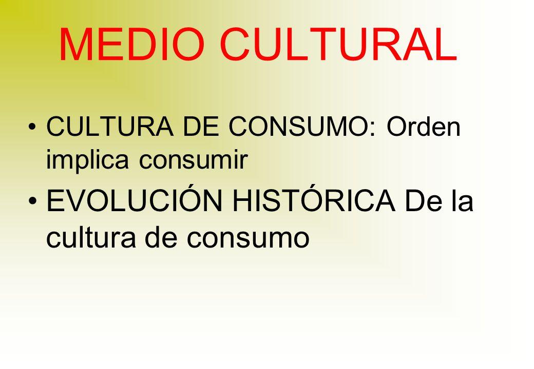 MEDIO CULTURAL EVOLUCIÓN HISTÓRICA De la cultura de consumo