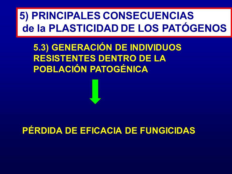 5) PRINCIPALES CONSECUENCIAS de la PLASTICIDAD DE LOS PATÓGENOS