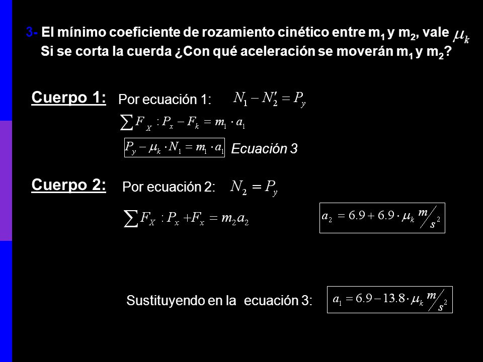 3- El mínimo coeficiente de rozamiento cinético entre m1 y m2, vale