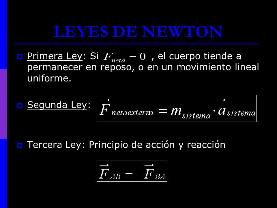 LEYES DE NEWTON Primera Ley: Si , el cuerpo tiende a permanecer en reposo, o en un movimiento lineal uniforme.