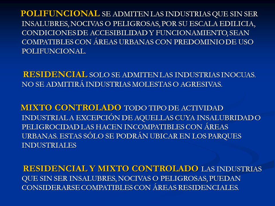 POLIFUNCIONAL SE ADMITEN LAS INDUSTRIAS QUE SIN SER INSALUBRES, NOCIVAS O PELIGROSAS, POR SU ESCALA EDILICIA, CONDICIONES DE ACCESIBILIDAD Y FUNCIONAMIENTO, SEAN COMPATIBLES CON ÁREAS URBANAS CON PREDOMINIO DE USO POLIFUNCIONAL.
